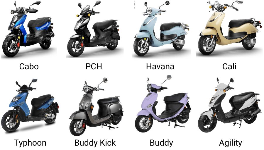 Lineup of 125 Scooters