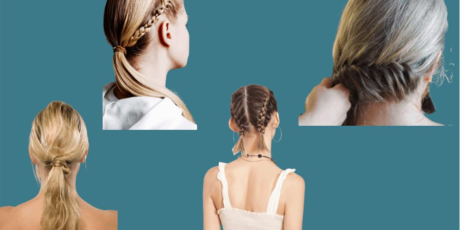 Ponytail and braid ideas to minimize helmet hair and tangles.