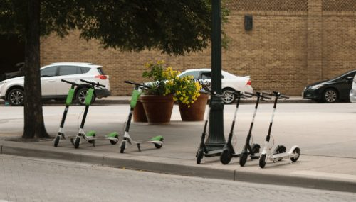 line of e-scooters