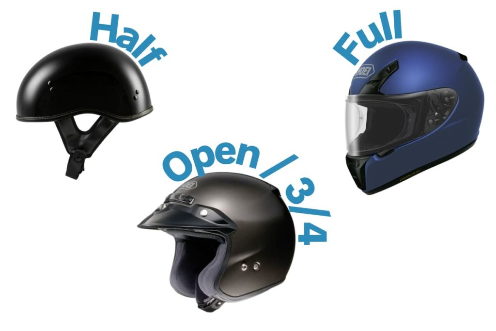 half, open, and full face motorcycle helmet examples
