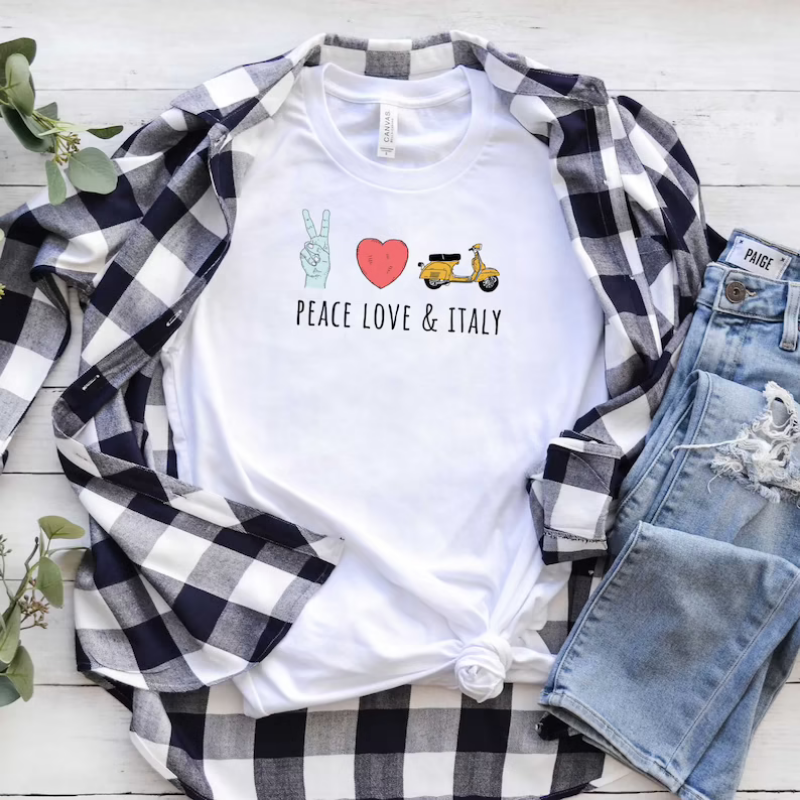 image of a white shirt with text and associated images of Peace, Love & Italy